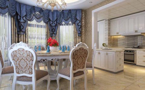餐厅蓝色欧式U乐国际窗帘实景图