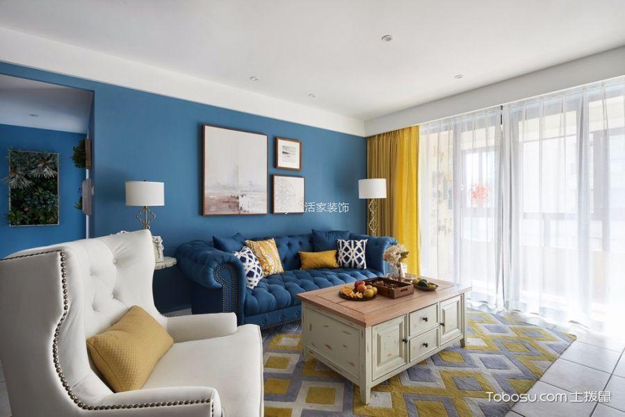 蓝天佳苑117平美式风格两居室装修效果图