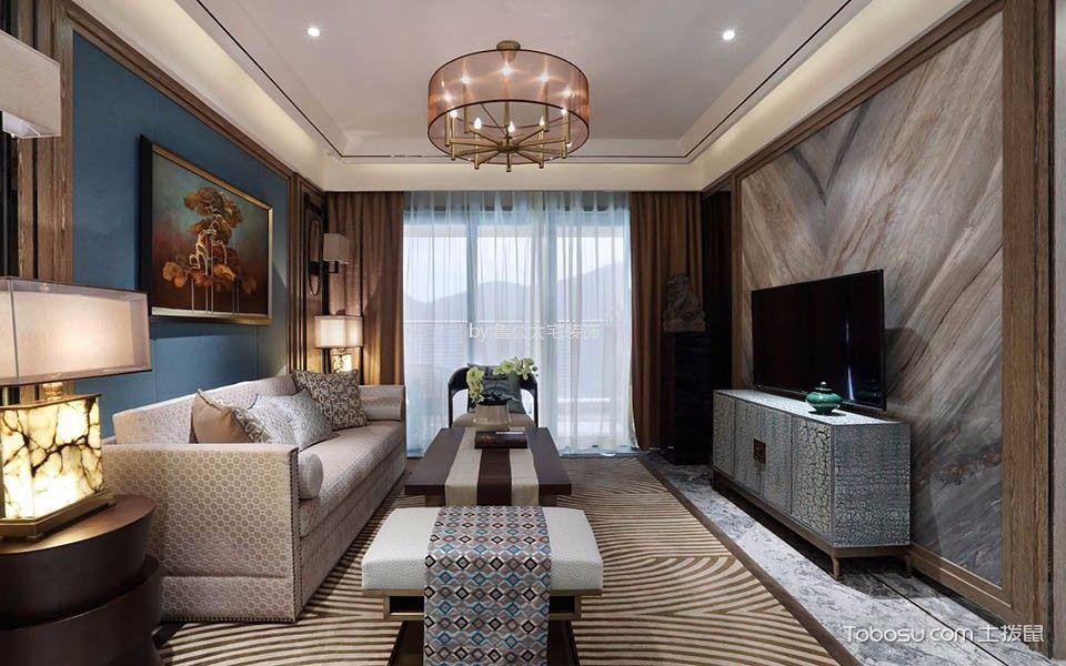客厅 吊顶_金科城143平新中式风格四居室装修效果图