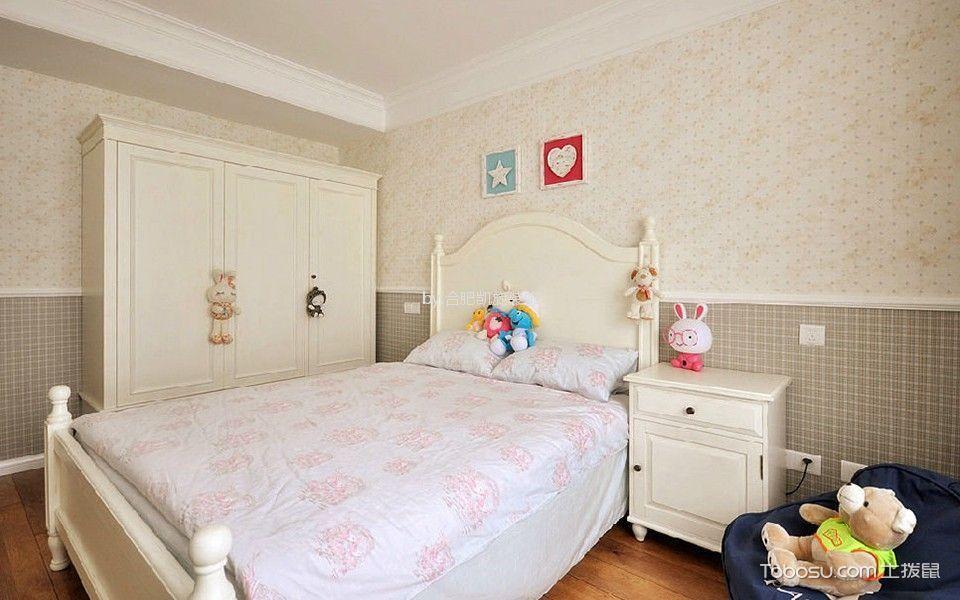 儿童房白色衣柜美式风格装潢效果图