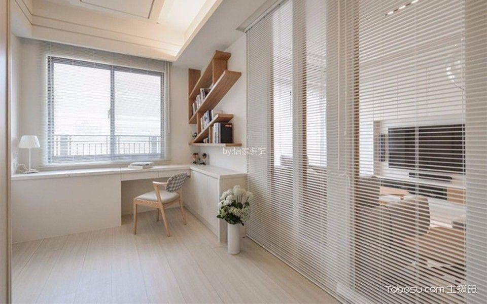 书房白色书桌日式风格装潢设计图片