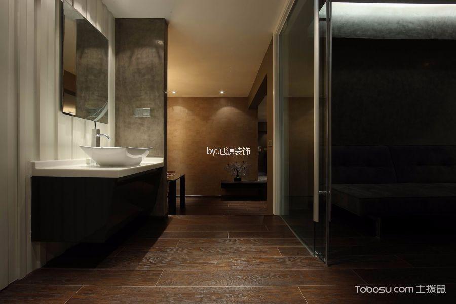 卫生间咖啡色地板砖现代风格装修设计图片