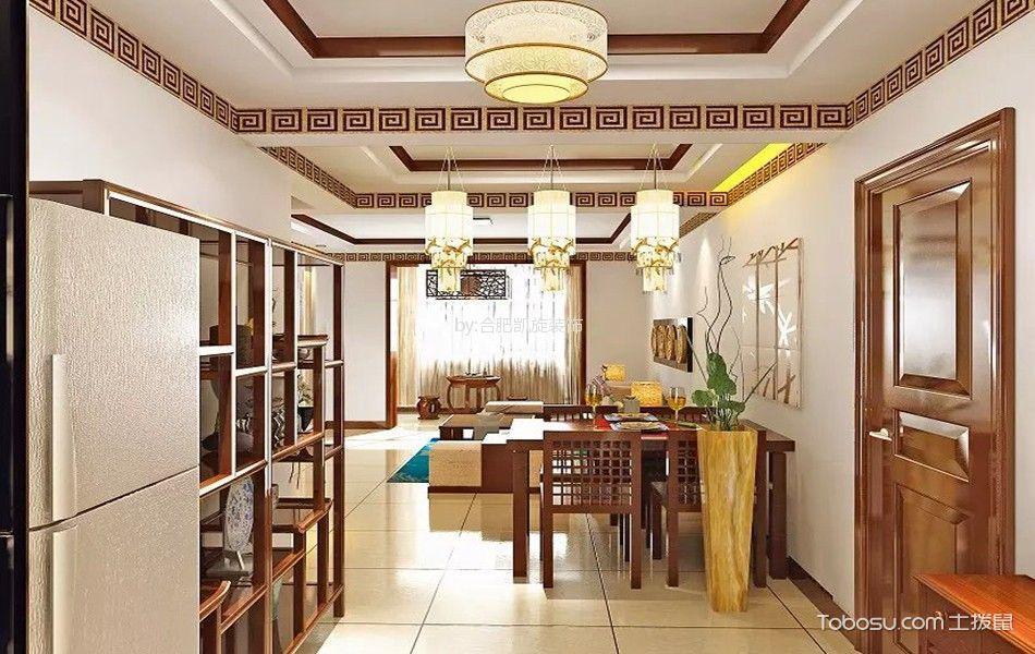 餐厅咖啡色博古架新中式风格装潢设计图片