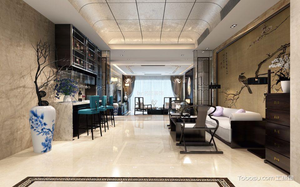 客厅白色吧台新中式风格装潢设计图片