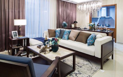 滨海御庭120平简约三居室装修效果图