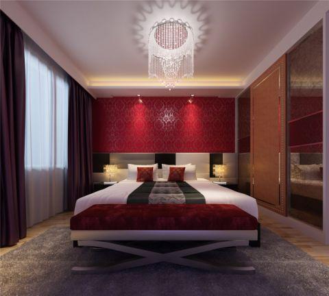 中式风格套房客厅、卧室装修效果图