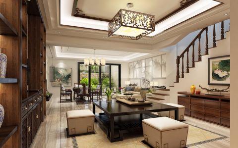 客厅楼梯新中式风格装修设计图片