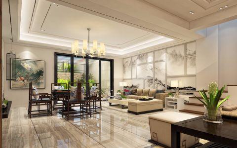 客厅地砖新中式风格装潢设计图片