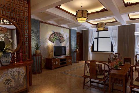 客厅电视柜中式风格装潢图片
