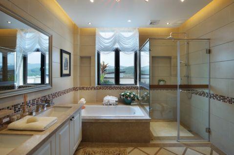 卫生间窗帘美式风格装修设计图片