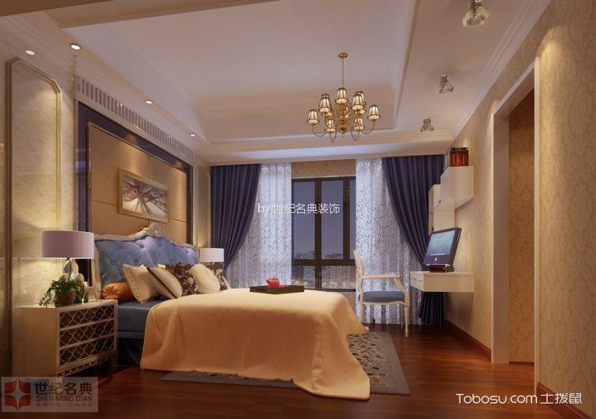 卧室黄色背景墙简欧风格装潢效果图