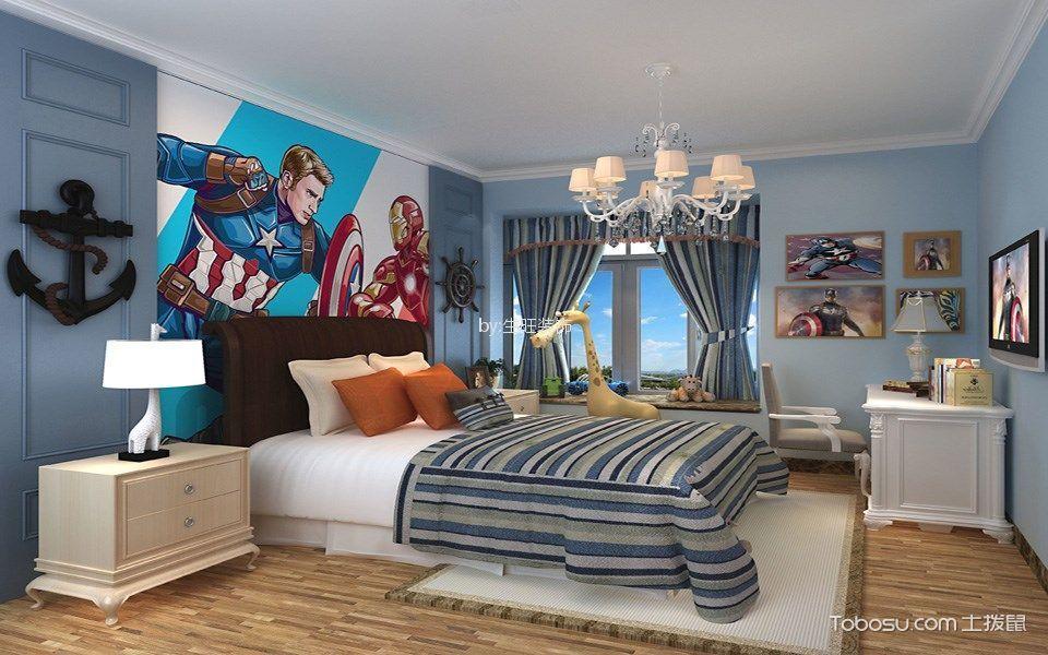 儿童房蓝色背景墙简欧风格装饰图片