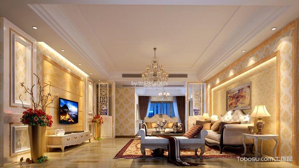 客厅米色地砖简欧风格装潢图片