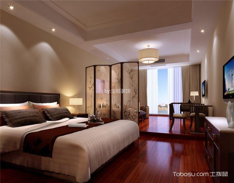 卧室米色隔断新中式风格装饰效果图