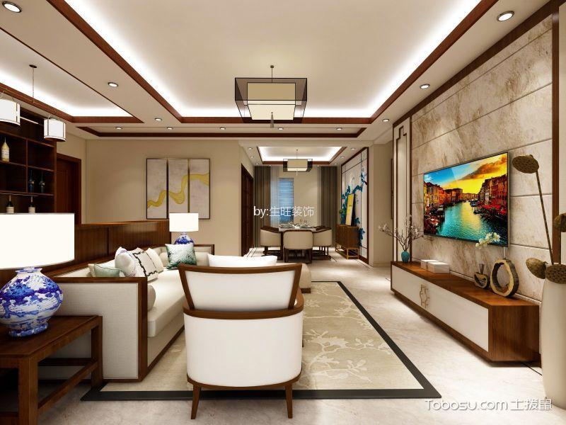 客厅米色背景墙新中式风格装潢效果图