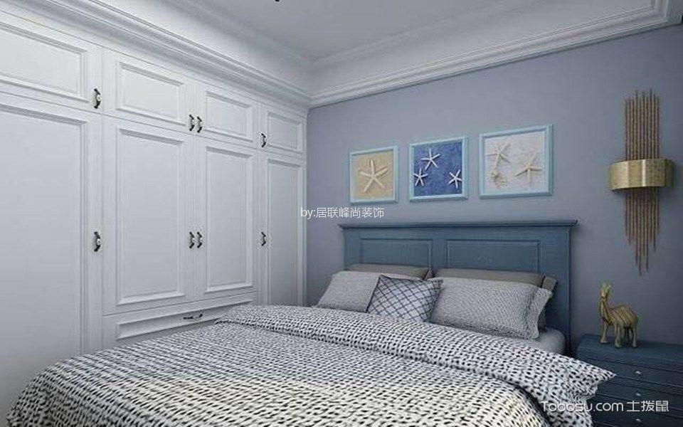 儿童房蓝色背景墙简欧风格装饰设计图片