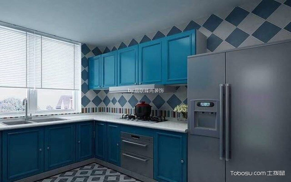 厨房蓝色橱柜简欧风格装潢设计图片