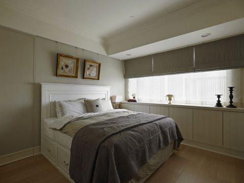 卧室灰色背景墙美式风格装饰图片