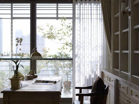 书房白色窗帘美式风格装修设计图片