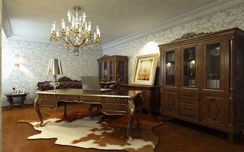 书房吊顶简欧风格装修图片