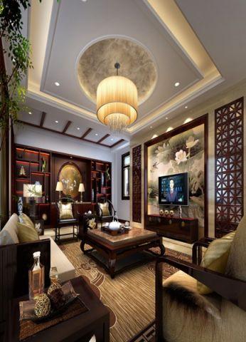 客厅隔断中式风格装潢设计图片