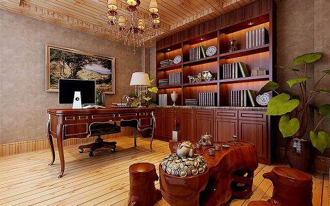 书房背景墙欧式风格装修图片