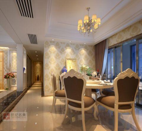 餐厅黄色背景墙简欧风格装饰图片