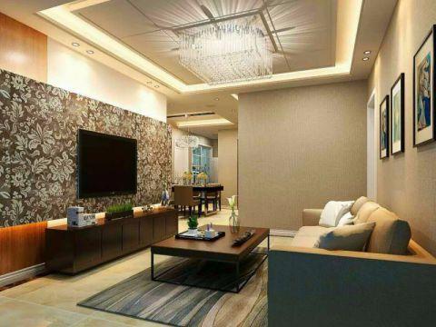客厅咖啡色电视柜混搭风格装潢效果图