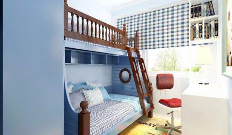 儿童房蓝色窗帘室内装修设计
