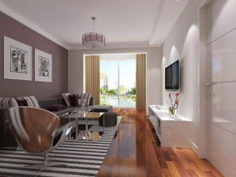 客厅黄色窗帘现代风格装饰设计图片