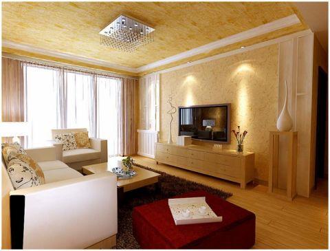 客厅黄色吊顶现代风格装修效果图