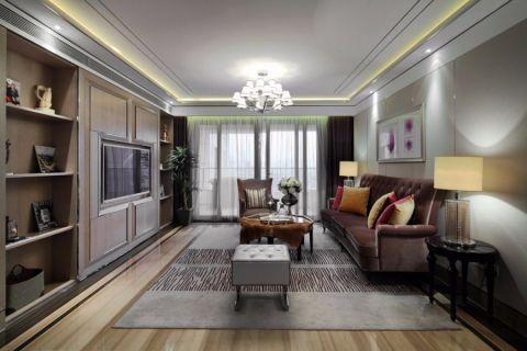 客厅咖啡色窗帘新古典风格装饰效果图
