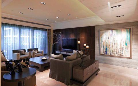 客厅咖啡色背景墙新古典风格效果图