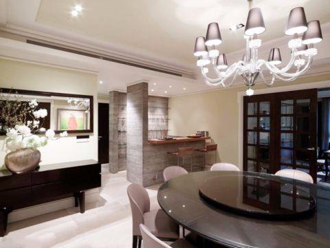 餐厅黑色餐桌新古典风格装饰效果图