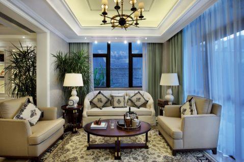 客厅米色沙发简欧风格装饰图片
