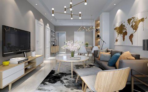 客厅灰色背景墙北欧风格效果图