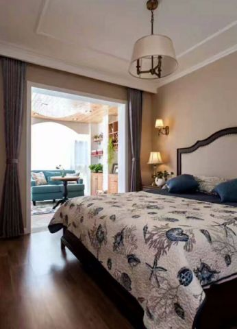 卧室灰色窗帘美式风格装修效果图