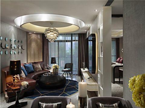 客厅咖啡色吊顶现代风格装饰设计图片