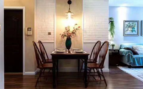 餐厅米色背景墙美式风格装潢图片