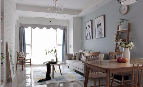 客厅白色推拉门北欧风格装饰效果图