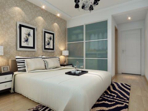 卧室白色床现代简约风格装潢设计图片