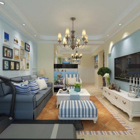 客厅蓝色沙发装潢实景图