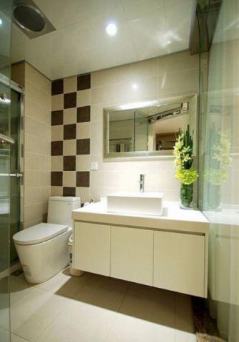 卫生间米色背景墙现代简约风格装饰效果图