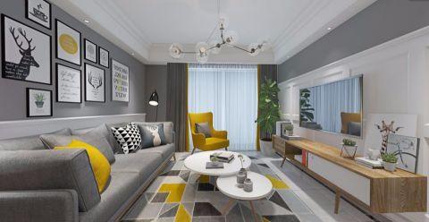 客厅米色背景墙北欧风格装修图片