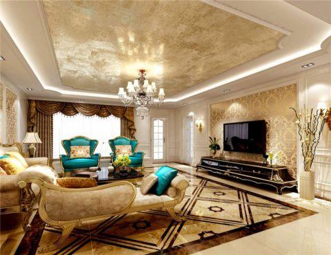 客厅黄色吊顶简欧风格装潢效果图