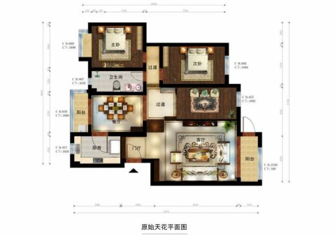 彩色新中式风格装潢图片