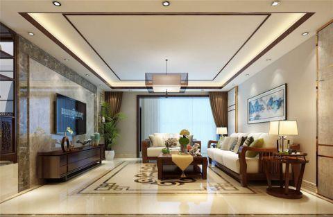 客厅白色吊顶新中式风格装饰设计图片