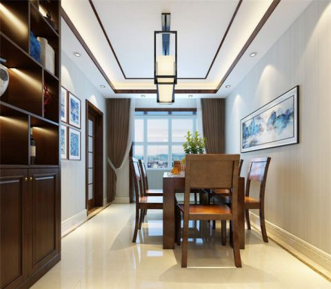 餐厅咖啡色窗帘新中式风格装潢设计图片