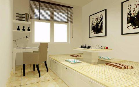 书房白色书桌日式风格装潢图片
