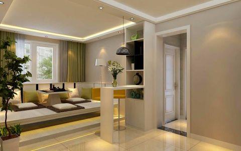 客厅白色吧台日式风格装修设计图片